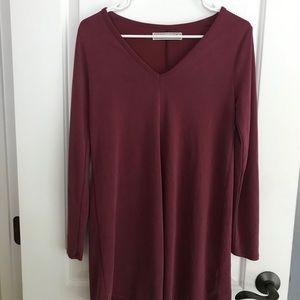 A&F Off Burgundy Long Sleeve Vneck Dress